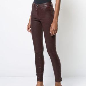 J BRAND '8001' Burgundy Lambskin Leather Pants